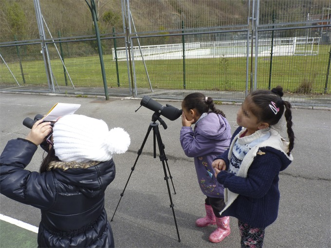 Three little girls using a telescope.